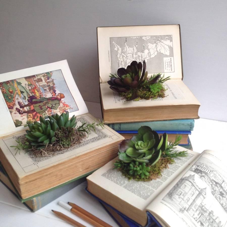 Vintage Book Planters!